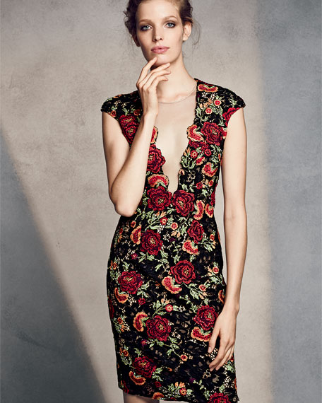 Cap-Sleeve Floral Open-Back Sheath Dress, Black/Multicolor