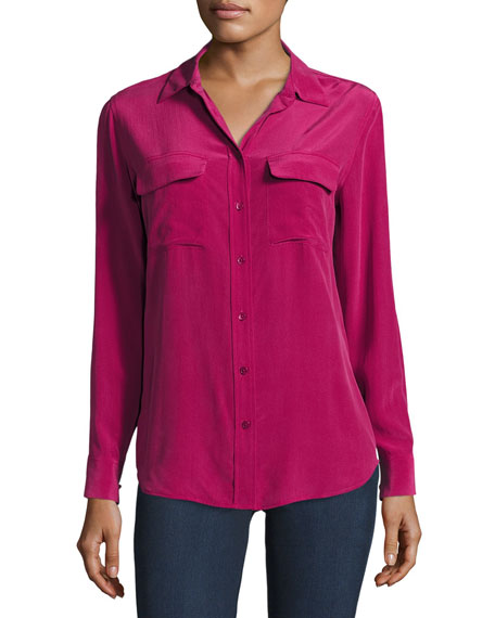 Slim Signature Long-Sleeve Shirt, Damson