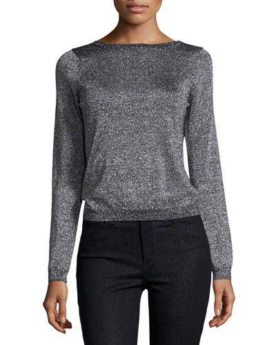 Calais Metallic V-Back Sweater, Black/Silver Lurex? metallic