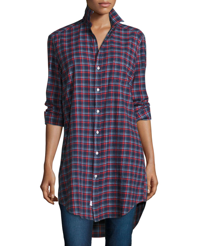 Frank Eileen Mary Plaid Tunic Shirtdress Navyredwhite Neiman