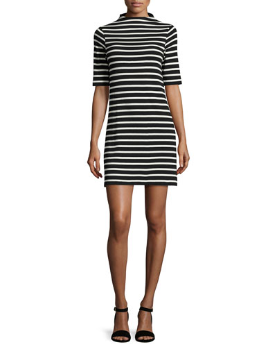 Terry Striped Mock-Neck Dress