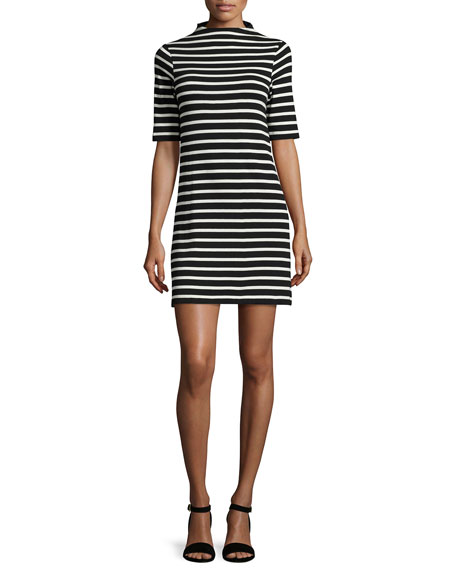 French Connection Terry Striped Mock-Neck Dress