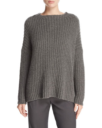 Ladder-Stitched Funnel-Neck Cashmere-Blend Sweater, Charcoal