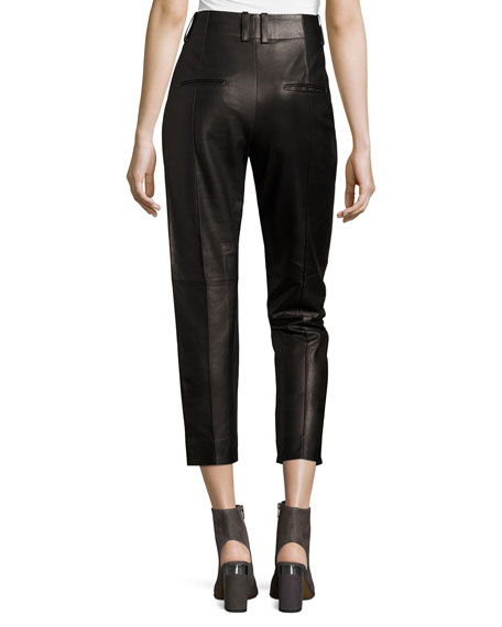 Leather Carrot Pants, Black