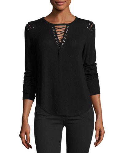 Vivi Lace-Up Sweater, Black