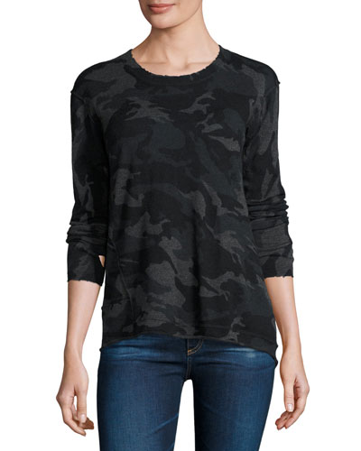 Abigail Distressed Cashmere Camo Sweater