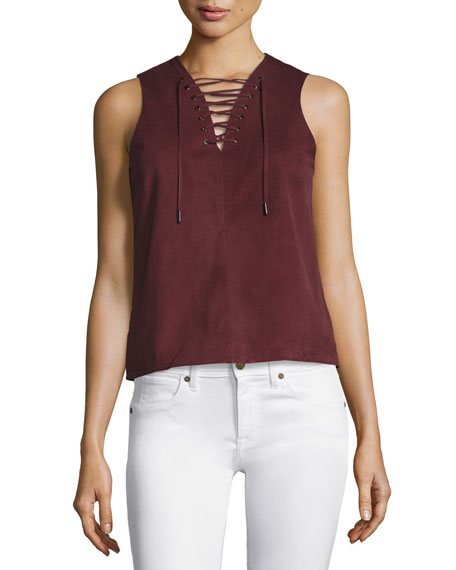 Alula Lace-Up Sirah Suede Shell Top