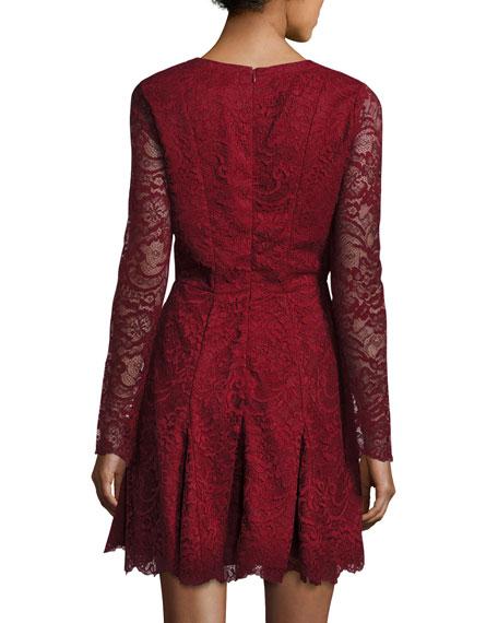 Mercury Lace-Up Fit & Flare Dress, Cranberry