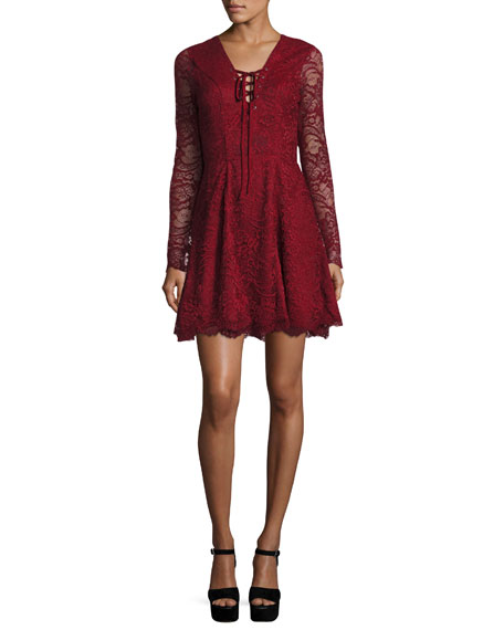 Mercury Lace-Up Fit & Flare Dress, Cranberry