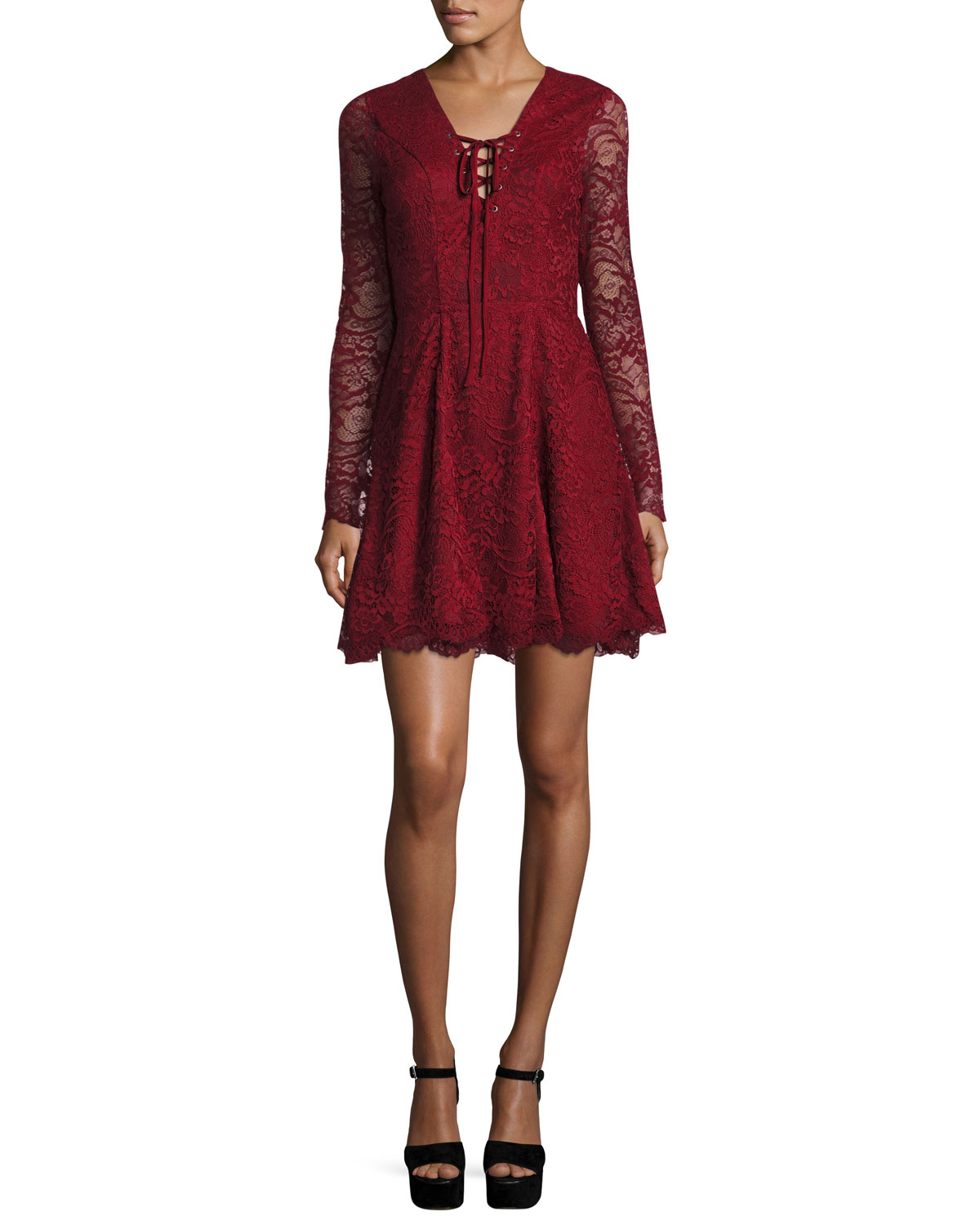 f21eee3a Lovers And Friends Mercury Lace-Up Fit & Flare Dress, Cranberry ...