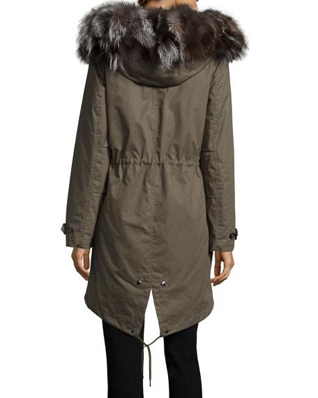 Literary Fur-Trim Cotton Parka Coat, Military Olive