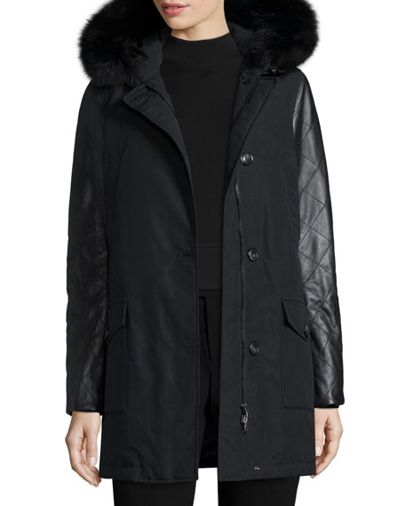 Leather-Trim Arctic Parka Coat w/ Fox Fur, New Black