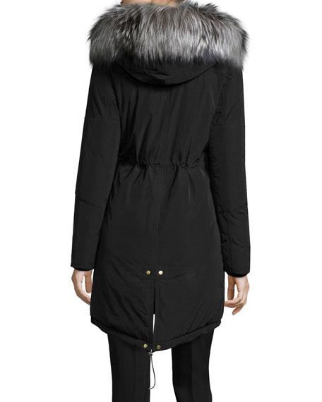 Fur-Lined Military Parka, Black