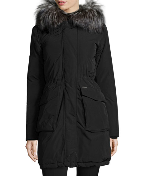 Fur-Lined Military Parka, Black