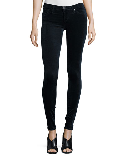 The Legging Velvet Skinny Jeans, Blue Night