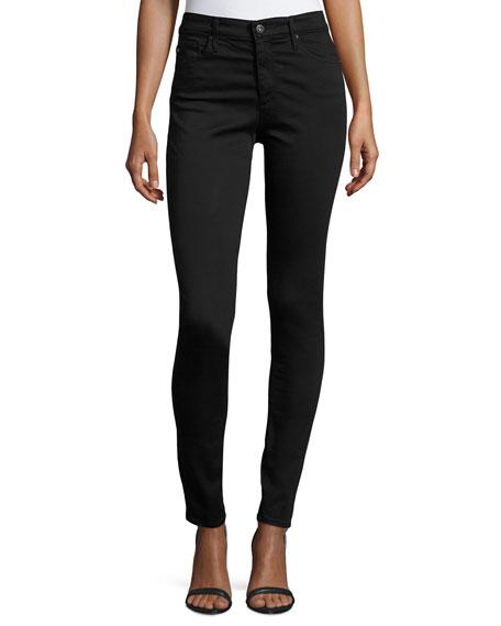 AG Farrah High-Rise Sateen Pants, Black