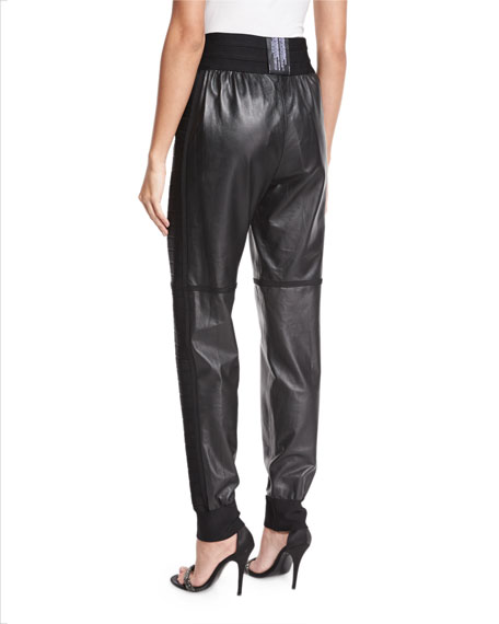 Leather Bandage Jogger Pants, Black