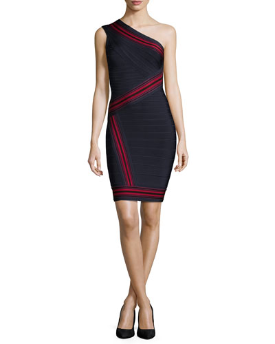 One-Shoulder Striped Bandage Dress, Indigo/Red