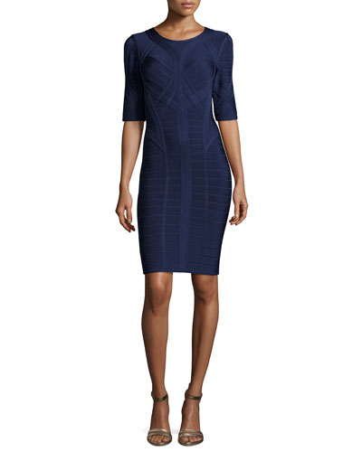 Helena Half-Sleeve Bandage Dress, Classic Blue
