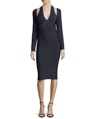 Long-Sleeve V-Neck Open-Shoulder Dress, Indigo