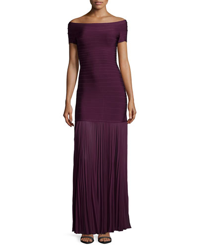 Off-the-Shoulder Pleated-Hem Gown, Bordeaux