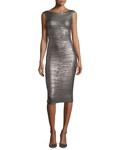 Sleeveless Bateau-Neck Bandage Dress, Gunmetal Combo