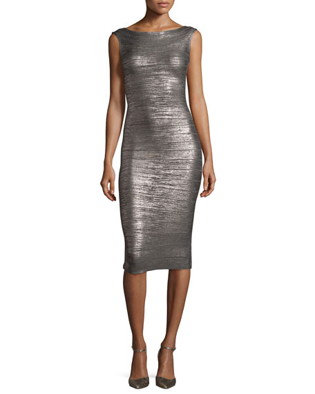 Herve Leger Ardell Sleeveless Bateau-Neck Bandage Dress, Gunmetal