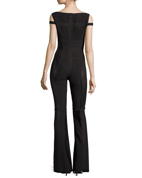 Cutout Flared-Leg Jumpsuit, Black