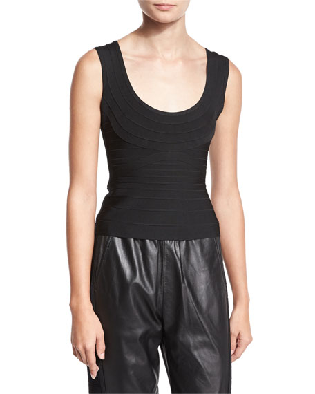 Herve Leger Scoop-Neck Bandage Tank, Black