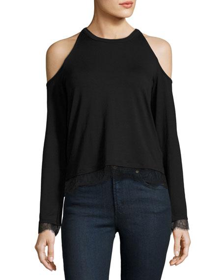 Cold-Shoulder Lace-Trim Crop Top