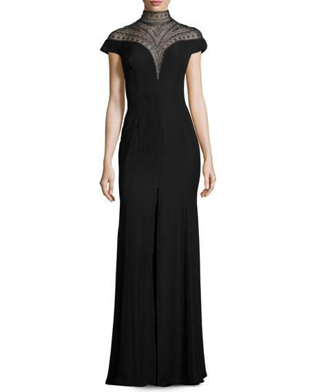 Sleeveless Embellished Crepe Gown, Black