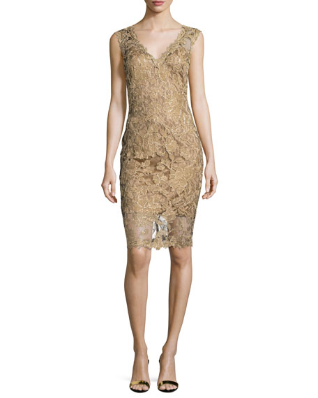 Sleeveless Lace Cocktail Dress, Gold