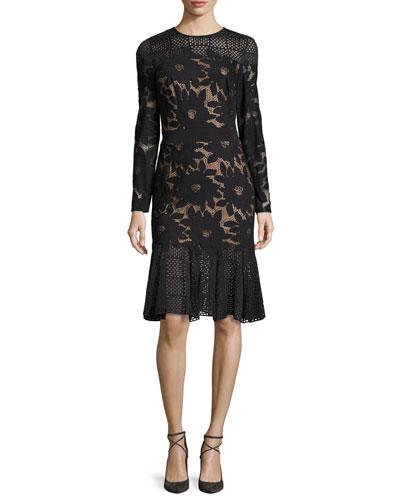 Long-Sleeve Floral Mesh Cocktail Dress, Black/Nude