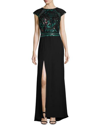 Cap-Sleeve Geometric Sequined Crepe Gown, Deep Leaf/Black