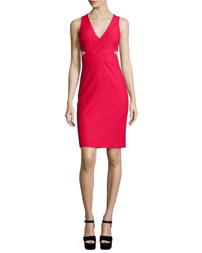 Aldridge Sleeveless Cutout Sheath Dress, Cardinal