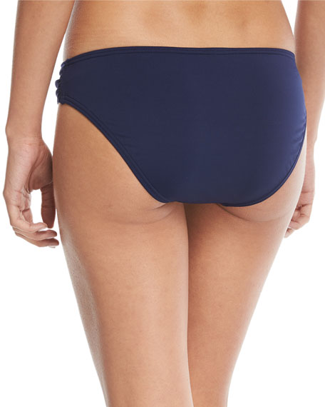 Pearl Shirred-Side Solid Hipster Swim Bottom