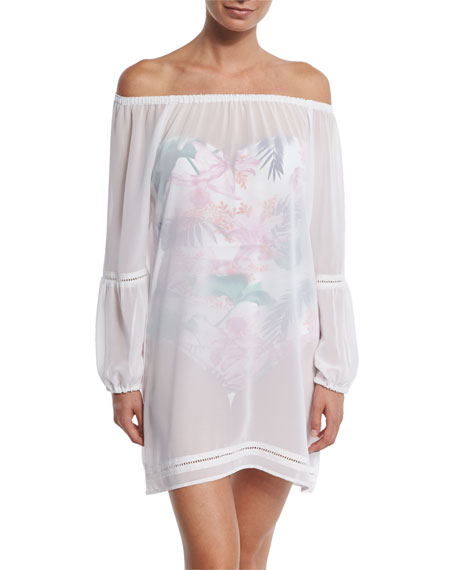 Chiffon Off-the-Shoulder Coverup Tunic