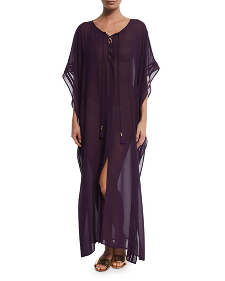 Tommy Bahama Chiffon Lace-Up Caftan Coverup, Regal Purple