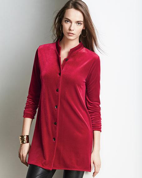 Mandarin-Collar Velvet Shirt