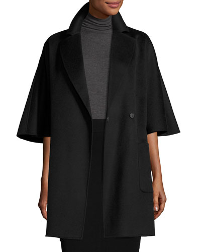 Oversized Half-Sleeve Wrap Coat, Black