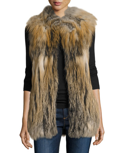 Multicolored Fox Fur Vest, Natural