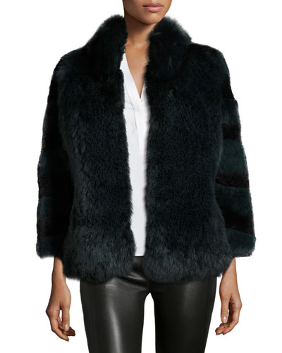 Ombre Fur Swing Jacket, Forest Ombre