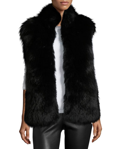 Fox & Rabbit Fur Vest, Solid Black