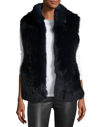 Fox & Rabbit Fur Vest, Navy Ombre