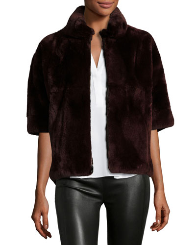 Rabbit Fur Bolero Jacket, Wine