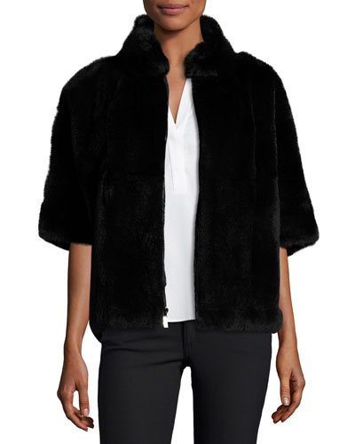 Rabbit Fur Bolero Jacket, Black
