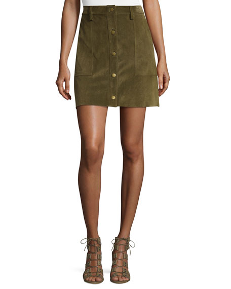Current/Elliott The Suede Naval Skirt, Green