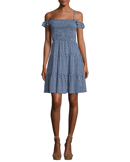 Tory Burch Dot-Print Smocked Dress, Cabarita