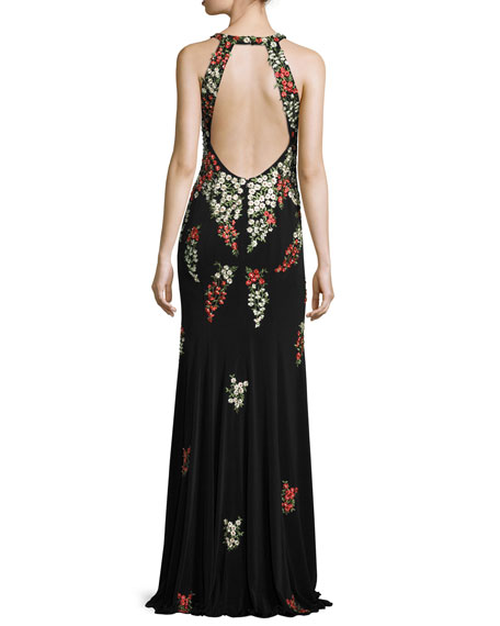 Sleeveless Embroidered Column Gown, Black/Multicolor
