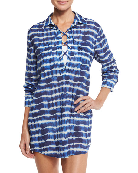 Tory Burch Ziggy Lace-Up Coverup Tunic